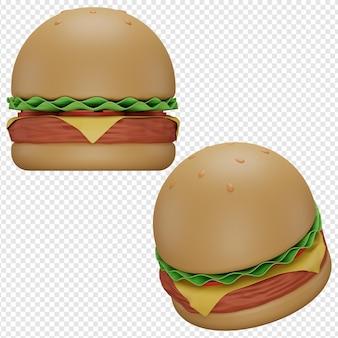 햄버거 아이콘 psd의 3d 고립 된 렌더링