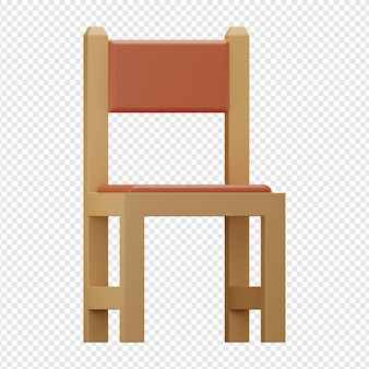 椅子アイコンの3d分離レンダリング
