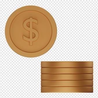 동전 아이콘 psd의 3d 고립 된 렌더링
