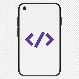 모바일 프로그래밍 아이콘 psd의 3d 고립 된 렌더링