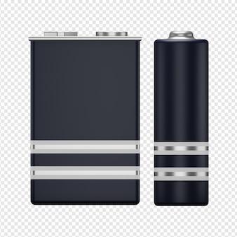 2つのバッテリーアイコンpsdの3d分離レンダリング