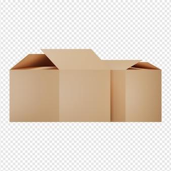 2つのボックスアイコンpsdの3d分離レンダリング