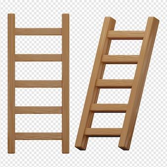 木製のはしごアイコンの3d分離レンダリング