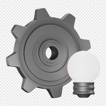 3d isolated render of process of ideas icon psd