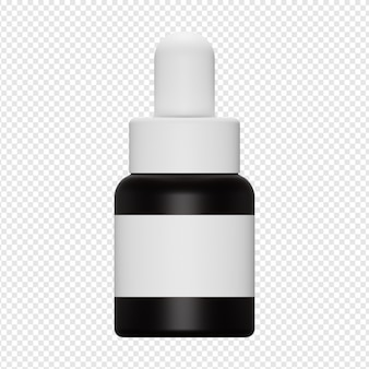 3d isolated render of serum bottle with pump icon psd