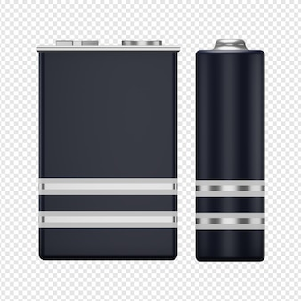 3d isolated render of two batteries icon psd