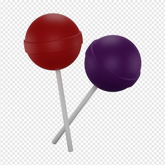 3d isolated render of two lollipops icon