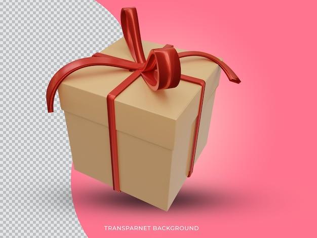 투명 한 배경에서 3d 격리 된보기 크리스마스 황금 선물 상자