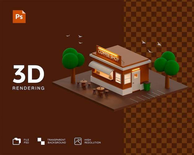 3dアイソメトリックコーヒーショップのデザイン