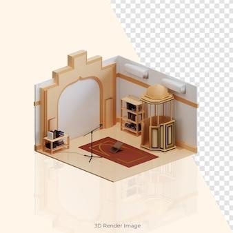 3d isometric mosque building islam