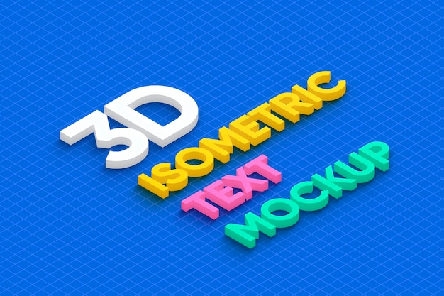 3d isometric text mockup