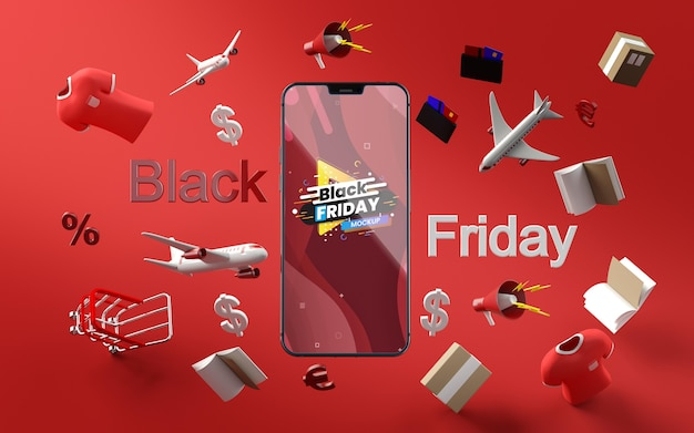 3d items black friday sale mock-up red background