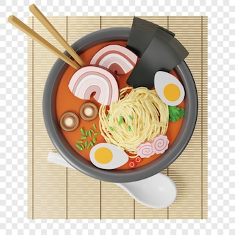 3d japanese ramen soup in a round plate on a bamboo mat chopsticks in the soup next to a spoon