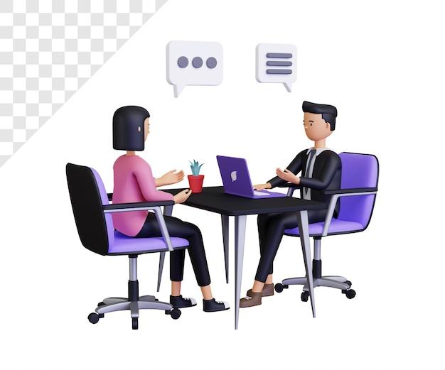 男性と女性のキャラクターとの3d就職の面接