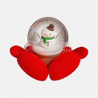 3d вязаные красные варежки держат сувенирный снежный шар со снеговиком, изолированных 3d иллюстрация