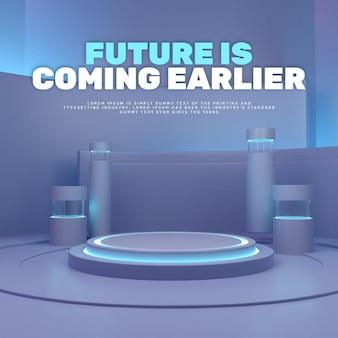 Esposizione del prodotto del podio techy futuristico del laboratorio 3d