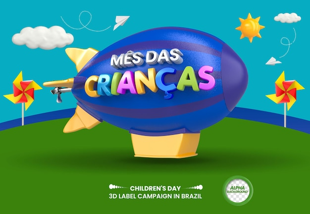3d label childrens month for composition in brazil design in portuguese