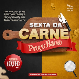 3d label friday meat left composition for butcher and steakhouse campaign of brazil