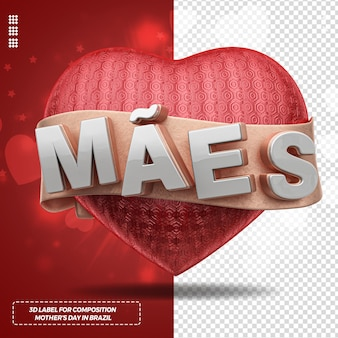 3d label render mothers day with heart and for campaign in brazil