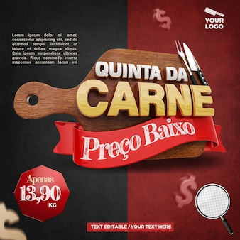 3d label thursday meat composition for butcher and steakhouse campaign of brazil