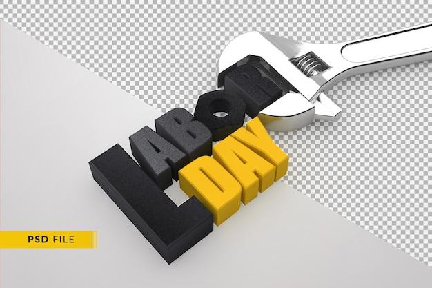Концепция дня труда 3d и гаечный ключ для строительства