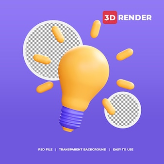 3d lamp idea icon with transparent background