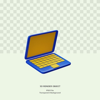 3d laptop icon illustration object rendered premium psd for web
