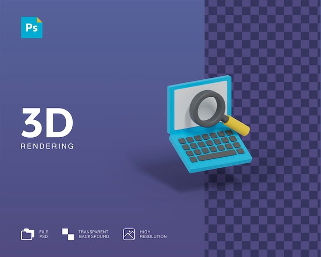 3d-ноутбук с увеличительным стеклом ищет иллюстрацию
