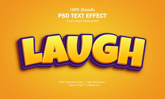 3d laugh game logo text effect