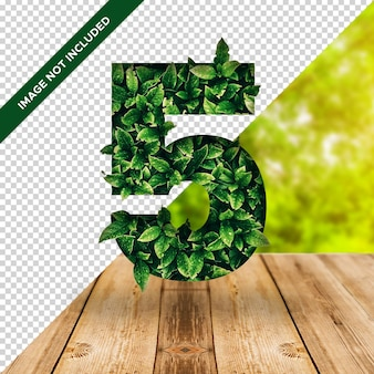 3d leaf effect number 5 with transparent background