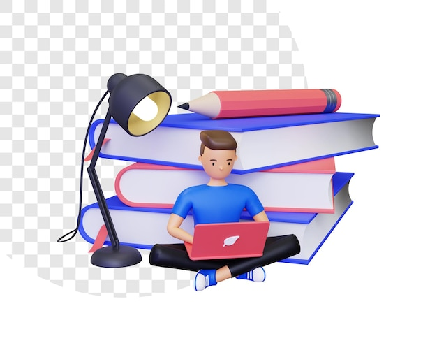 3d learning with male character sitting in front of a pile of books