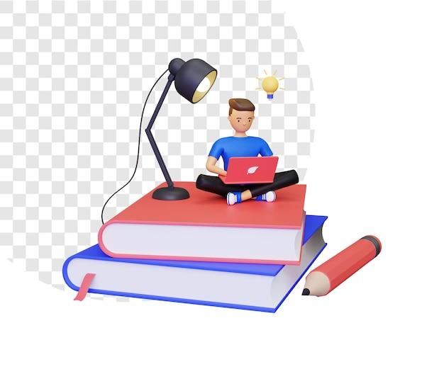 本の山に座っている男性キャラクターとの3d学習