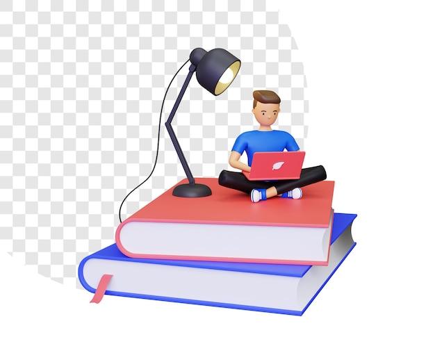 ノートパソコンを使用して勉強している男性との3d学習