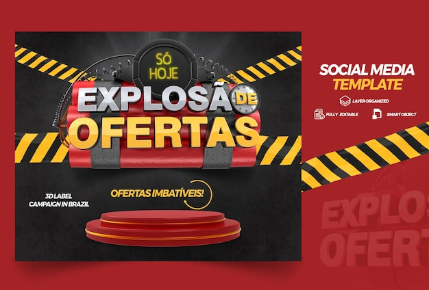3d left render explosion of offers with podium for general stores and campaigns in brazil