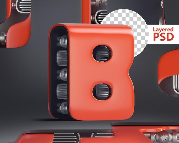 3d letter b in futuristic cyber style