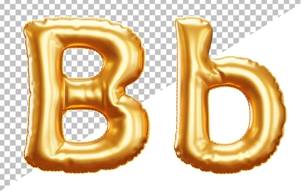 3d letter b gold helium foil balloon alphabet with uppercase and lowercase