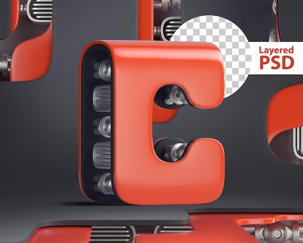 3d letter c in futuristic cyber style