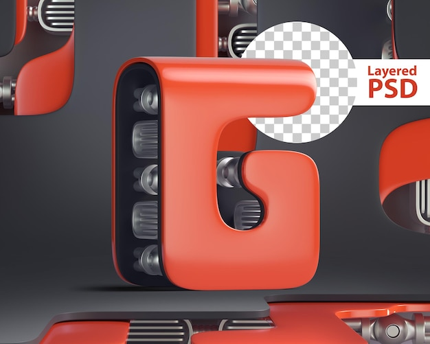 3d letter g in futuristic cyber style