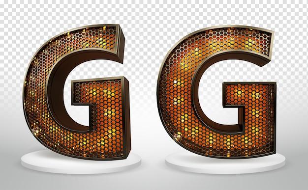 3d буква g с огнями и сеткой