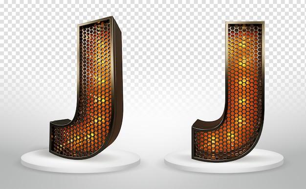 3d буква j с огнями и сеткой