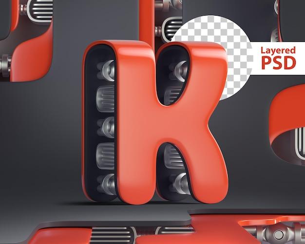3d letter k in futuristic cyber style