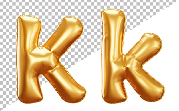 3d letter k gold helium foil balloon alphabet, uppercase and lowercase