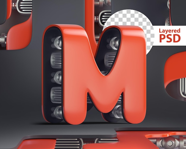 3d letter m in futuristic cyber style