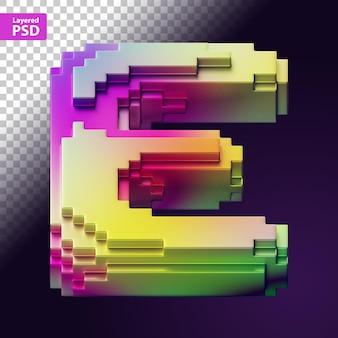 Lettera 3d fatta di pixel colorati
