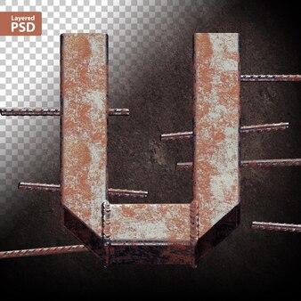 용접된 그런지 금속 파이프로 만든 3d 편지