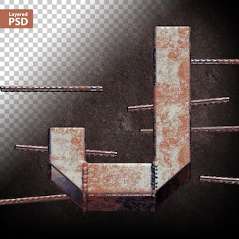 3d letter made of welded grunge metal pipes