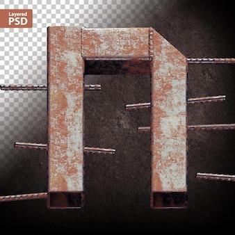 Lettera 3d fatta di tubi metallici saldati grunge