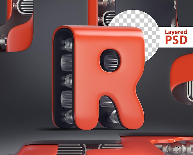 3d letter r in futuristic cyber style
