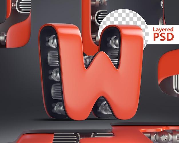 3d letter w in futuristic cyber style