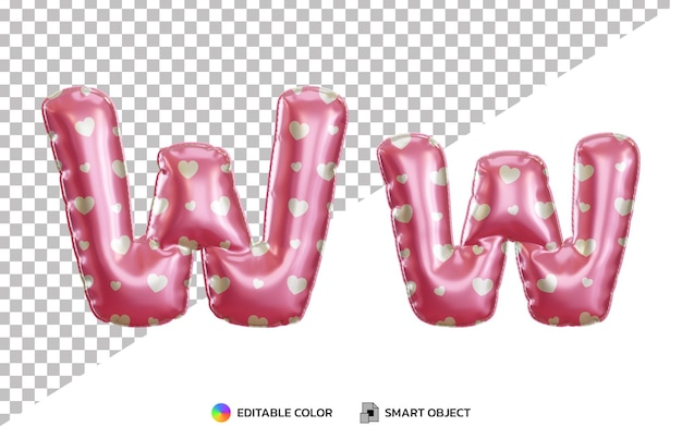 3d letter w pink helium foil balloon alphabet, upper case and lower case